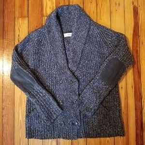 Zara Knit Elbow Patch Cardigan Sweater M